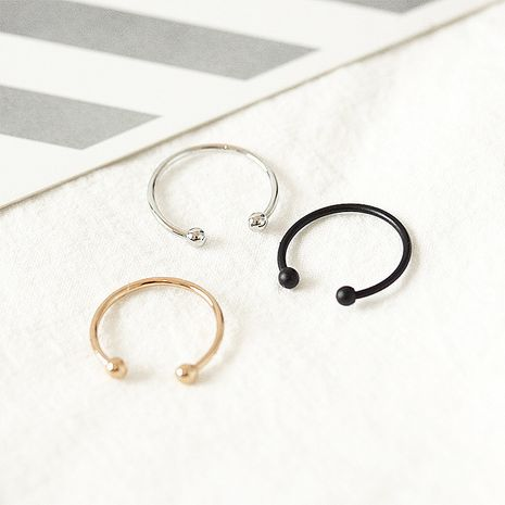 Glossy bead opening adjustable ring Korean fashion simple round ball couple tail ring wholesale NHDP246058's discount tags