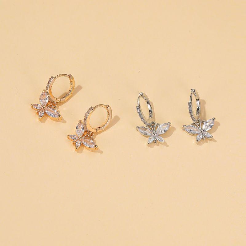 new crystal butterfly zircon butterfly earrings allmatch Wholesale nihaojewelry NHDP246052