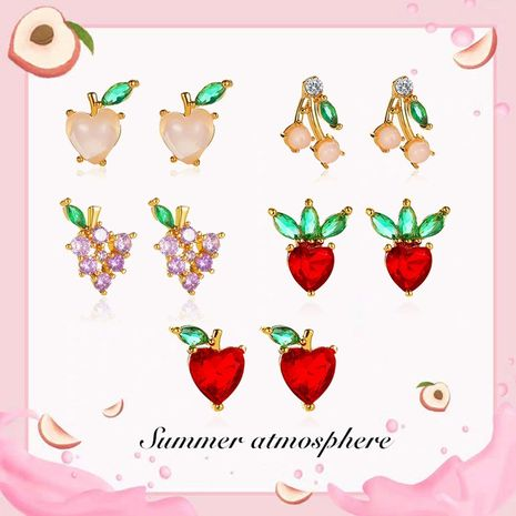 Fashion fruit sweet peach strawberry cute girl wild student earrings NHDP246100's discount tags