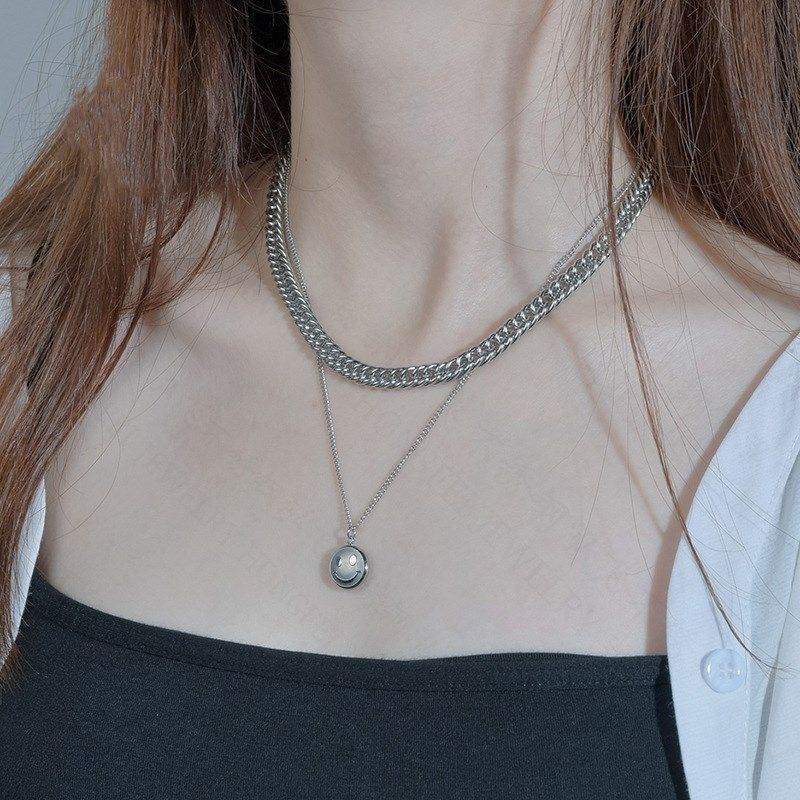 Fashion retro smiling face thick chain hip hop multi-layer short clavicle chain trendy necklace  NHHF246118