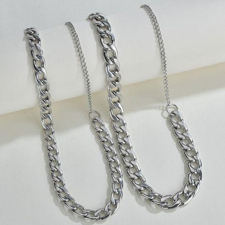 Corée style hip hop marée simple chaîne de clavicule en acier au titane collier de chaîne épaisse pour hommes et femmes NHHF246117's discount tags
