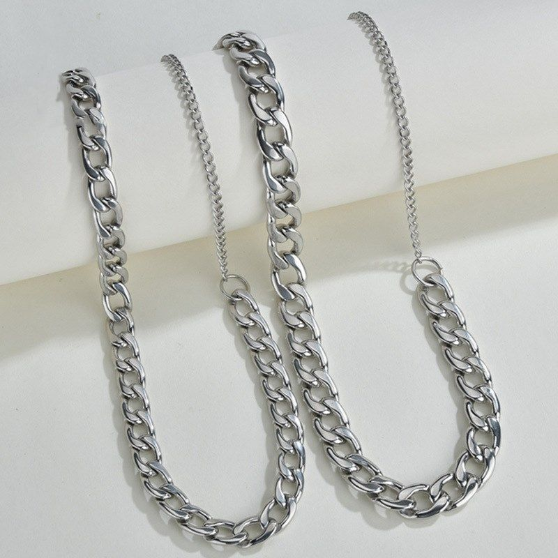 Korea hip hop style tide simple titanium steel clavicle chain thick chain necklace for men and women  NHHF246117