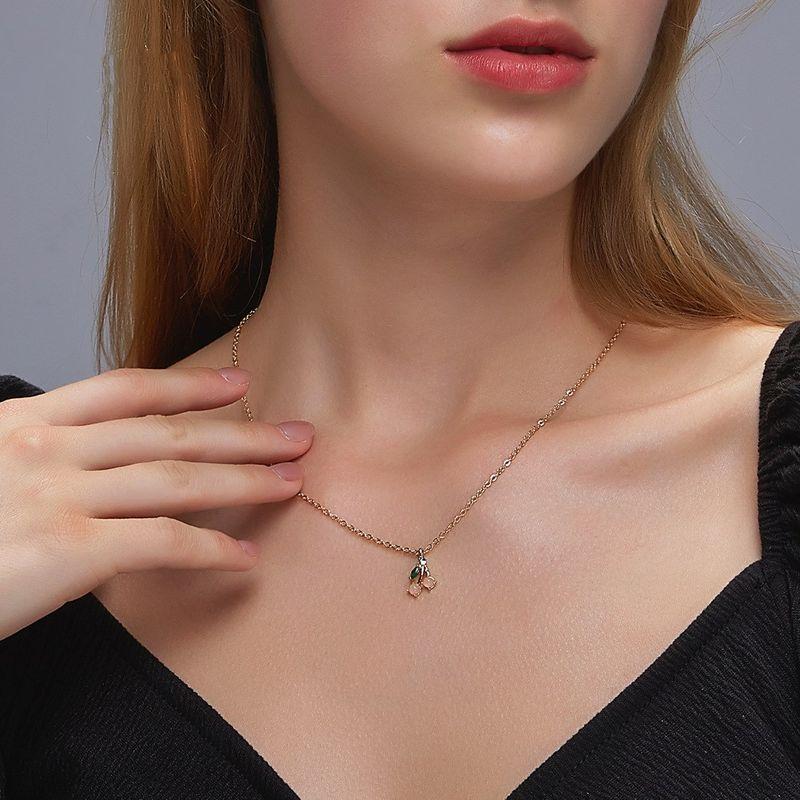 Korean cherry sweetheart opal women's short fruit clavicle chain choker necklace NHDP246103