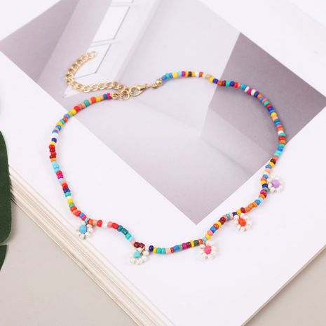 Bohemian hand-woven flower rice bead necklace simple long multicolor beaded pendant wholesale NHLA246377's discount tags