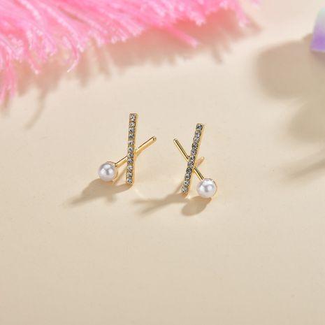 Diamant croix perle S925 argent aiguille métal simple mode géométrique petites boucles d'oreilles NHBQ246379's discount tags