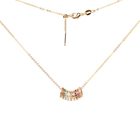 new gold multi-circle small waist necklace rainbow micro-inlaid diamond circle pendant clavicle chain wholesale NHPY246383's discount tags