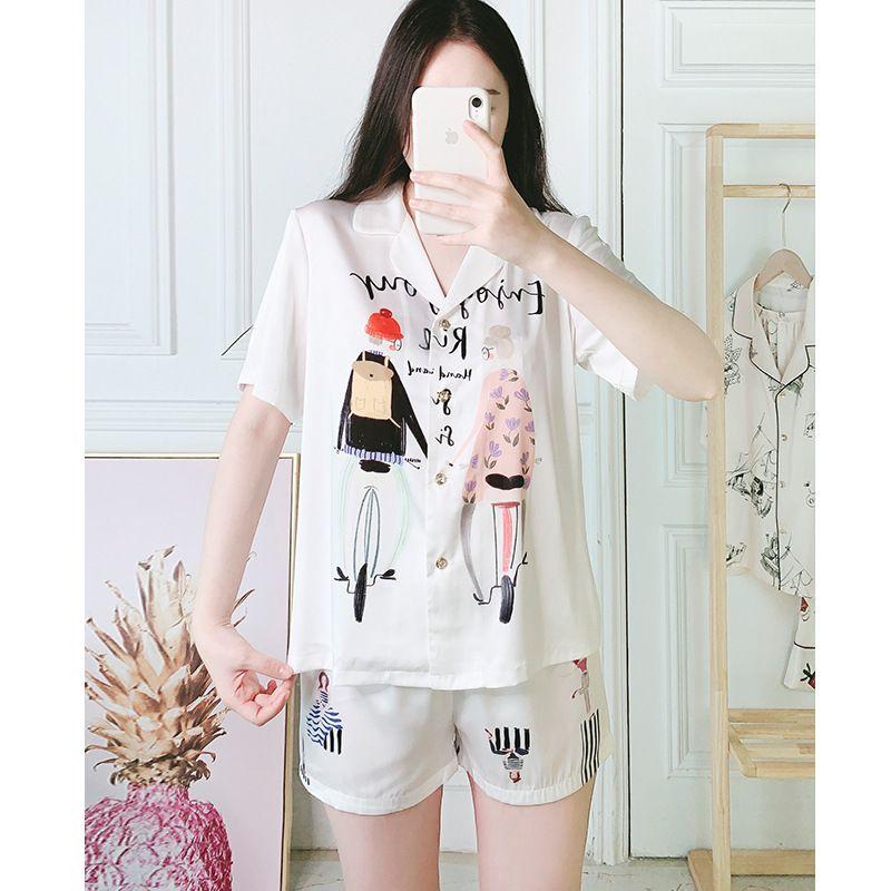summer short-sleeved ladies summer satin pajamas cute cartoon loose suit wholesale NHJO246420