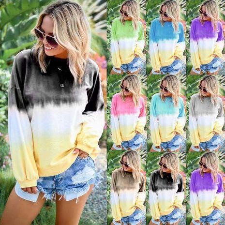 Nuevo suéter de manga larga con estampado de gradiente de arco iris para mujer de moda NHYF246424's discount tags