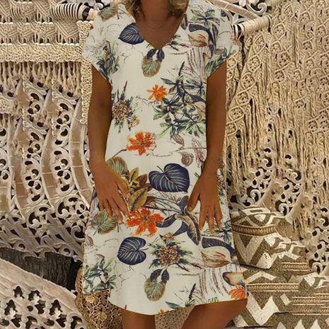 Vestido casual de manga corta con cuello en V estampado nuevo de verano para mujer de moda NHYF246425's discount tags