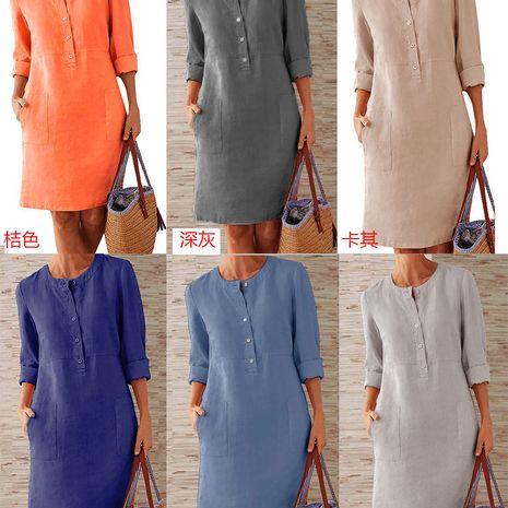 Vestido de manga larga transpirable con cuello redondo y manga larga de algodón para mujer de talla grande NHYF246426's discount tags