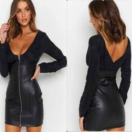 Vestido de cuello en V con cremallera de manga larga con costuras de cuero de nueva moda para mujer NHYF246428's discount tags