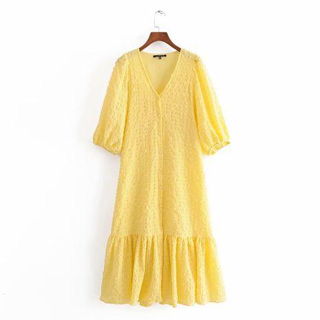wholesale vestido con cuello en v de textura de otoño de moda para mujer. NHAM246437's discount tags