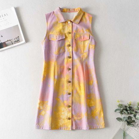 wholesale nuevo vestido de mezclilla estampado tie-dye sin mangas de otoño NHAM246441's discount tags