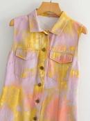 wholesale new autumn sleeveless tiedye printed denim dress  NHAM246441