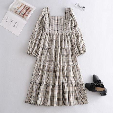 wholesale vestido de hendidura a cuadros retro otoño de moda para mujer NHAM246448's discount tags