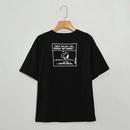 wholesale womens cartoon comic print shortsleeved round neck black Tshirt for women NHAM246465