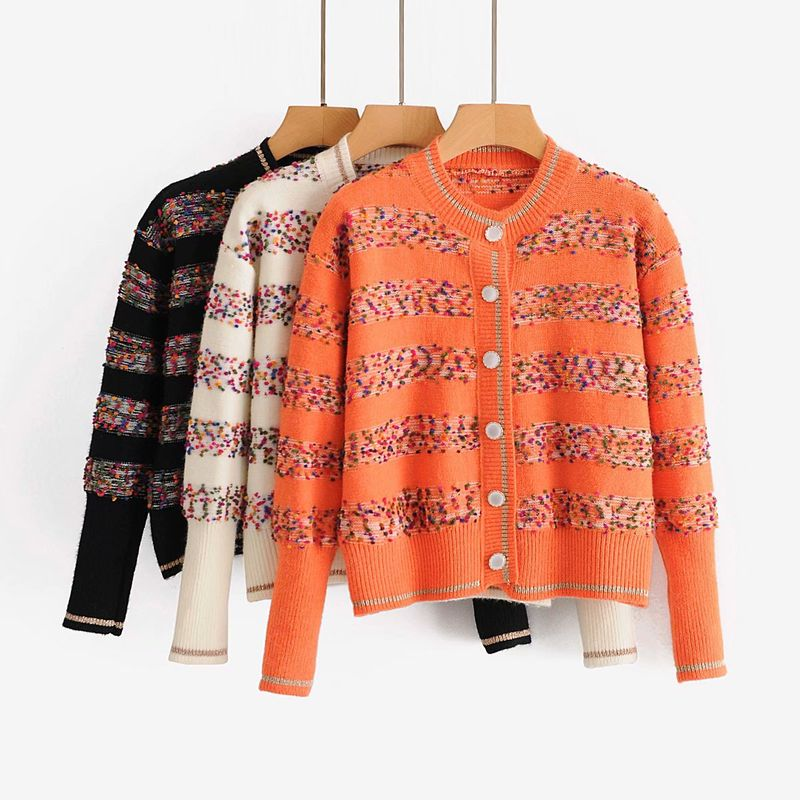wholesale colorful ball retro short knitted cardigan sweater coat for women NHAM246491