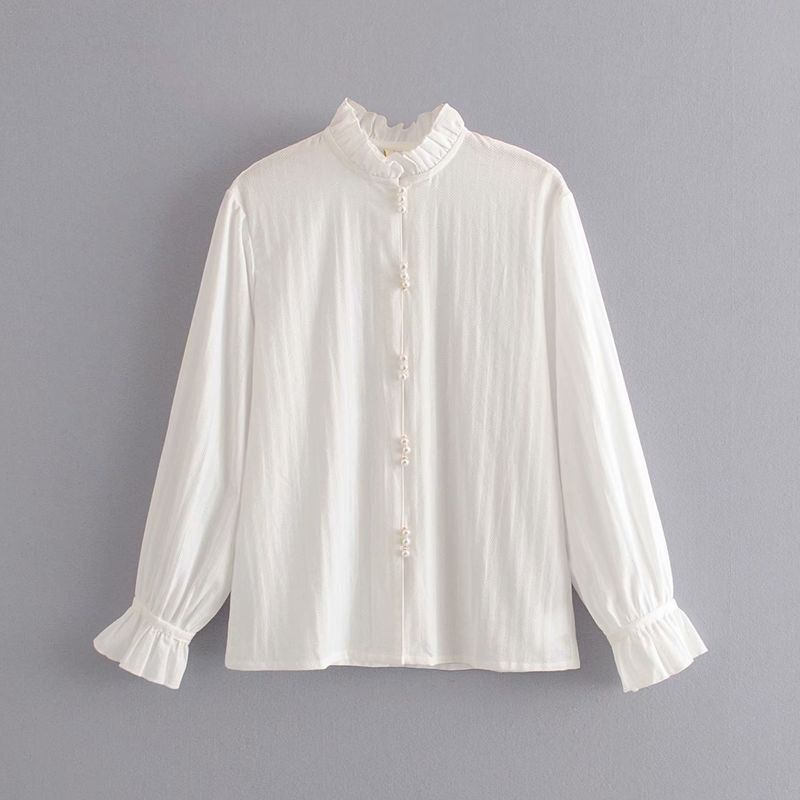 wholesale women's new stand-up collar ruffled pearl buckle flared sleeve shirt  NHAM246494