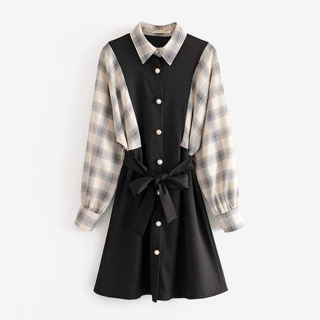Venta al por mayor del vestido de la falda de la camisa de costura a cuadros con cordones de las nuevas mujeres de la moda NHAM246495's discount tags