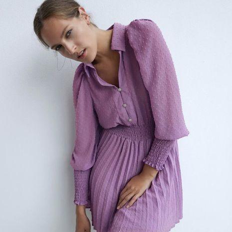 Nuevo vestido de manga larga plisado de tul de otoño para mujer al por mayor NHAM246497's discount tags