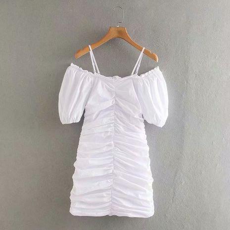 Moda de verano elegante cuello cuadrado plisado sling una palabra vestido de cuello marea al por mayor NHAM246502's discount tags