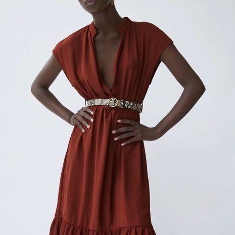 Al por mayor nuevo otoño con cinturón midi vestido de gasa para mujer. NHAM246511's discount tags