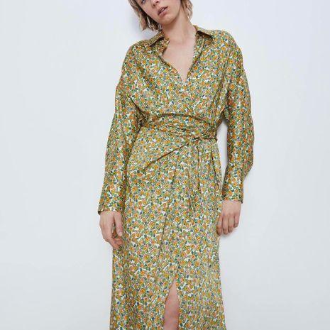 wholesale vestido de manga larga con camisa de flores impresas de las nuevas mujeres del otoño de la moda NHAM246512's discount tags