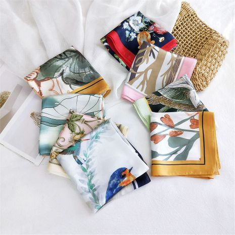 New wild spring scarf to protect the cervical spine Korean thin sunscreen small square silk scarf for women  NHMN246525's discount tags