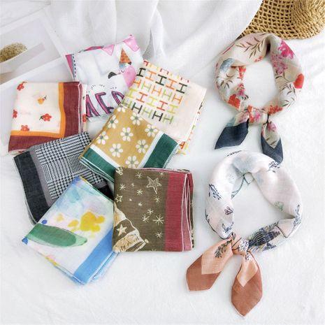 Mode été coréen bandeau sauvage petit coton de soie et lin petit foulard carré pour femme NHMN246528's discount tags