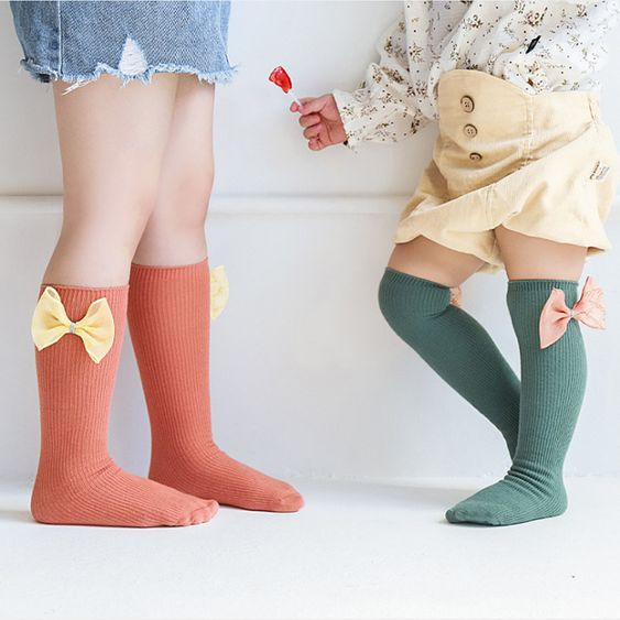 solid color socks cute bow baby