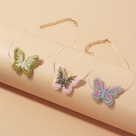 Collar simple de cadena de clavícula corta línea de pez mariposa de color invisible para niños al por mayor NHNU246574's discount tags