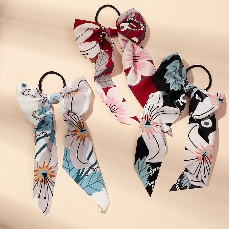 Korean fashion knotted ribbon large intestine ring hair rope printed fabric long ribbon new hair accessories NHAU246578