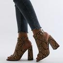 primavera nuevo patrn de serpiente tacn grueso tacones altos zapatos de mujer de gran tamao con punta abierta en la espalda NHCA246599
