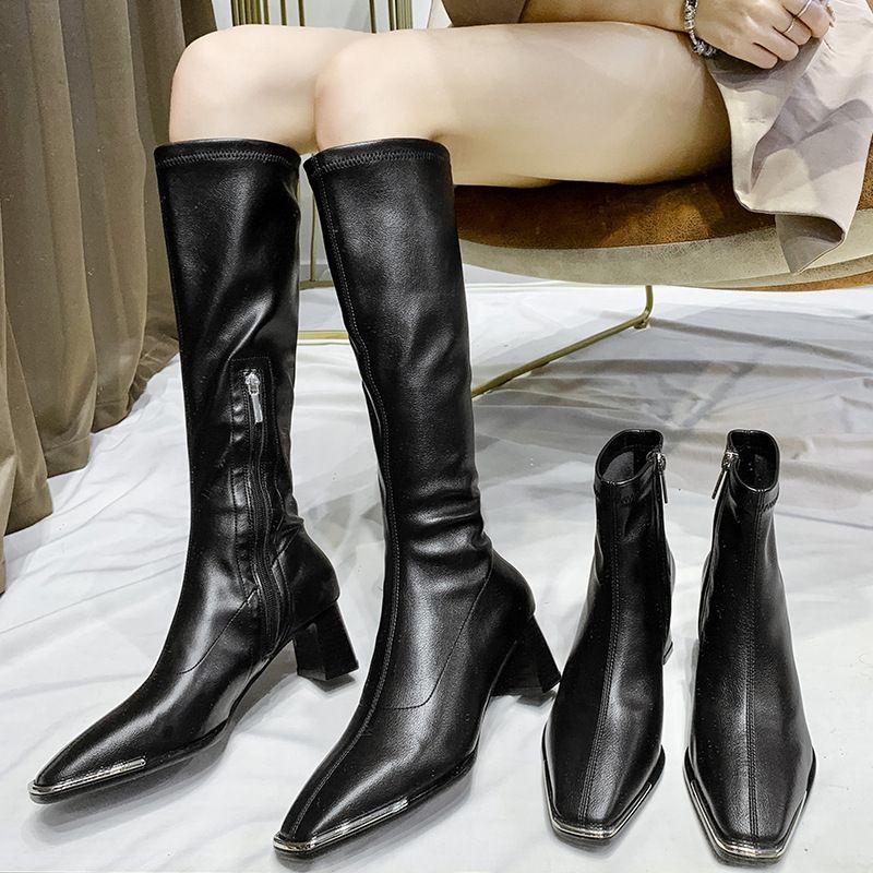 automne et hiver nouvelles bottes pour femmes bout en mtal talon haut talon pais bottes courtes fermeture  glissire latrale bout carr bottes pour femmes bottes longues NHSO246635
