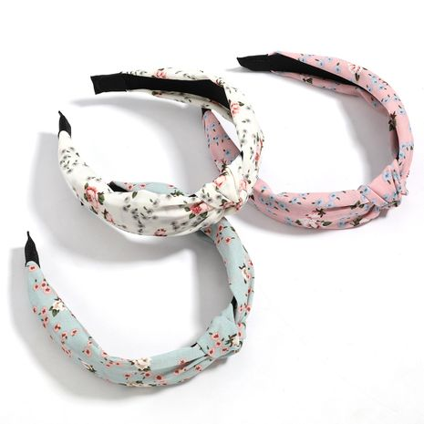 Fashion cotton  linen printed fabric hair band wide side knotted bow headband wholesale  NHJE246663's discount tags