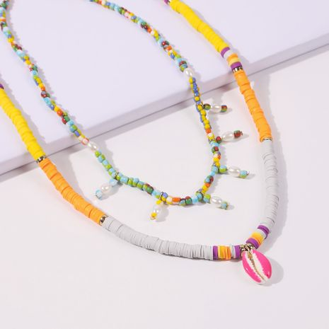 summer simple holiday style color shell rice bead necklace multi-layer color necklace wholesale NHMD246674's discount tags