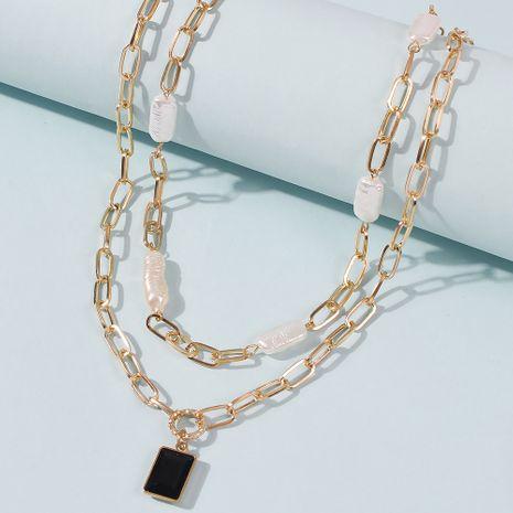 punk hip hop point diamond black pendant multi-layer  pearl chain wholesale NHMD246675's discount tags