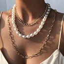 new trendy thick chain exaggerated elegant pearl  popular alloy multilayer necklace wholesale NHMD246678