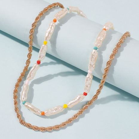 trend alloy elegant pearl necklace popular rice bead multi-layer necklace wholesale NHMD246680's discount tags