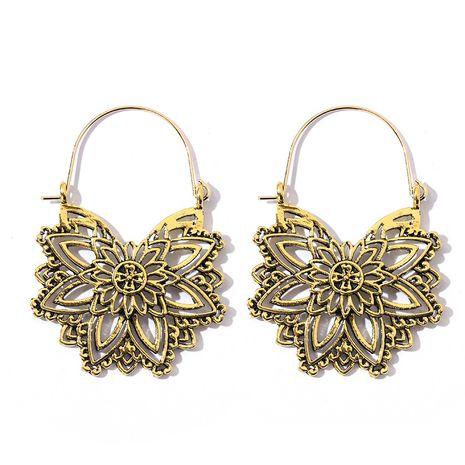 fashion geometric hollow gold bohemian flower retro earrings wholesale  NHGY246682's discount tags