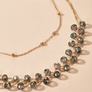 New fashion simple natural crystal  alloy round beads double necklace wholesale NHGY246683