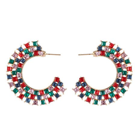 Fashion C-shaped diamond large semi-circular alloy simple style earrings wholesale  NHGY246684's discount tags