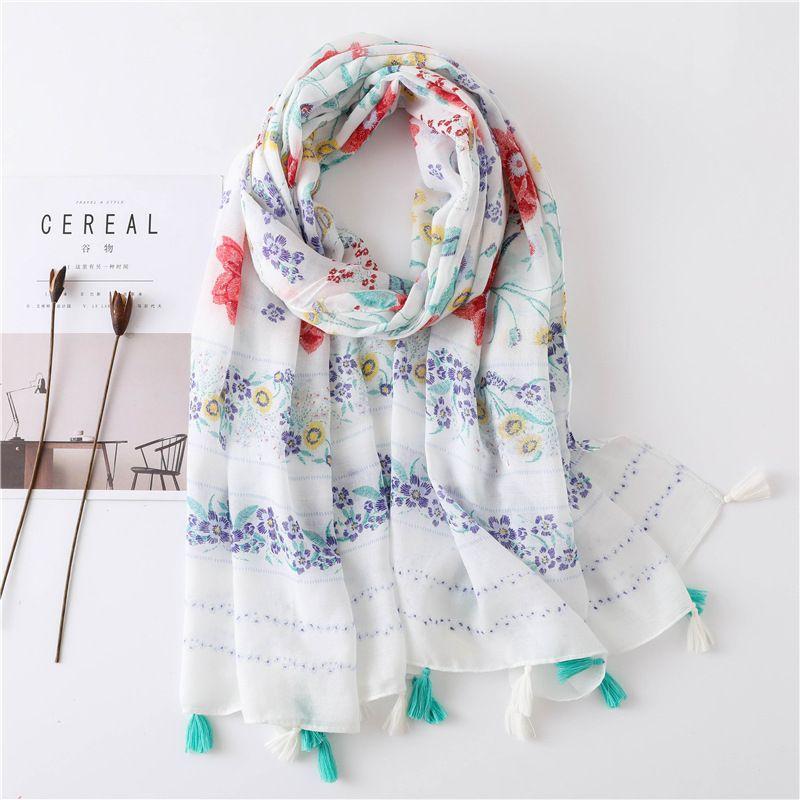 Fashion bohemian ethnic style gauze fringed flower printing long shawl wild silk scarf for women NHGD246704