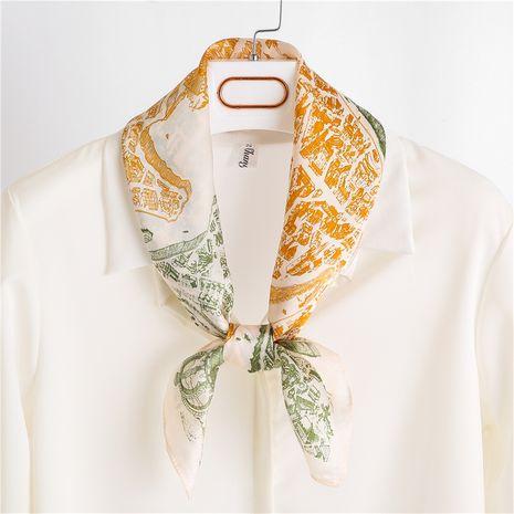 Mode rayé Corée été sauvage petite écharpe carrée en soie décorative pour les femmes NHGD246748's discount tags