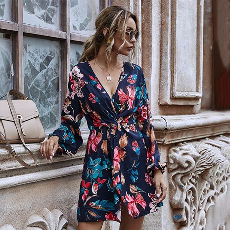 Moda otoño nuevo vestido estampado de manga larga con cuello en V cruzado y cintura torcida NHDF246753's discount tags