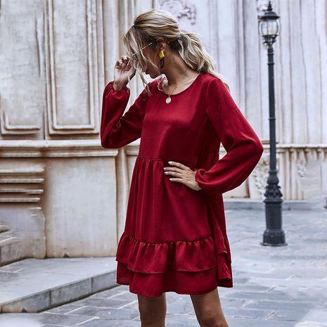 Vestido regular de color rojo vino con cuello redondo y manga abullonada con volantes y dobladillo hongo para mujer NHDF246754's discount tags