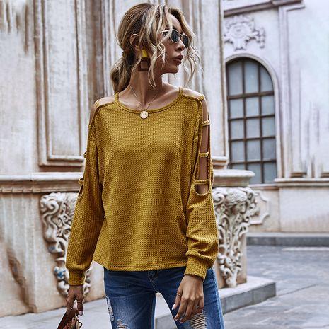 Moda nuevo otoño color sólido cuello redondo suéter hueco manga larga suelta casual sexy top NHDF246760's discount tags