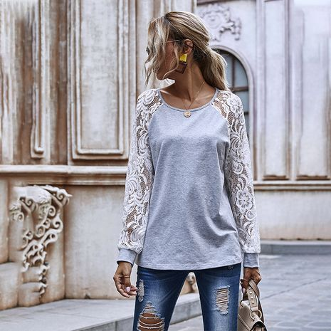 Top de cuello redondo de manga larga regular de encaje hueco de costura de moda para mujer NHDF246766's discount tags