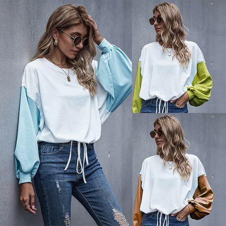 Nueva camiseta de otoño para mujer con costuras blancas y azules NHDF246772's discount tags