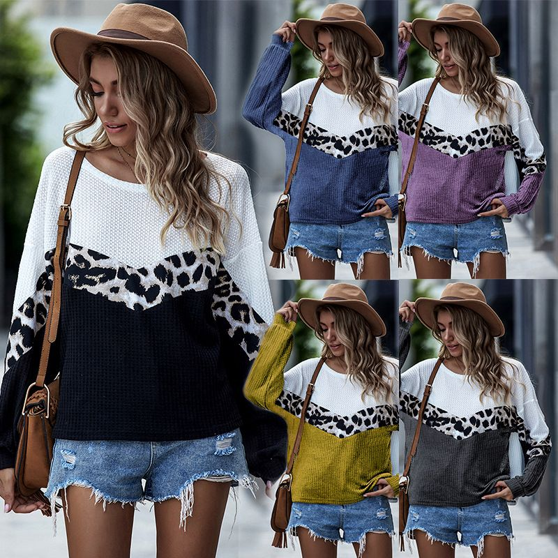 Fashion autumn new women's sweater leopard print contrast stitching round neck loose top long-sleeved t-shirt NHDF246774